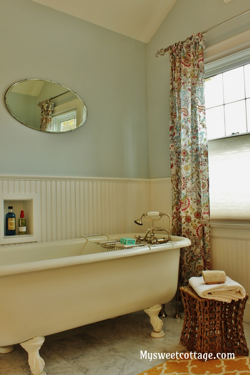 18 Claw-foot tub keeps with vintage feel of 1920 cottage remodel, My Sweet Cottage featured on @Remodelaholic
