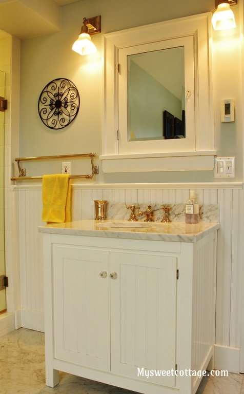Nice  Pottery Barn carrera marble sink in remodeled bathroom of s home My Sweet Cottage