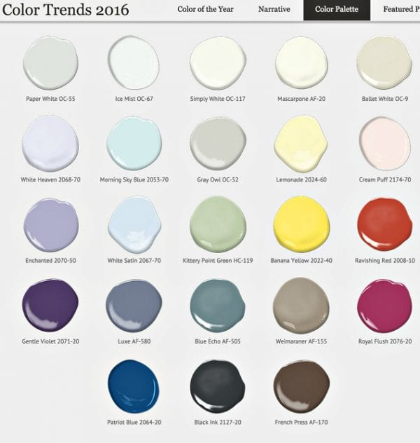 Benjamin Moore 2016 Color Forecast