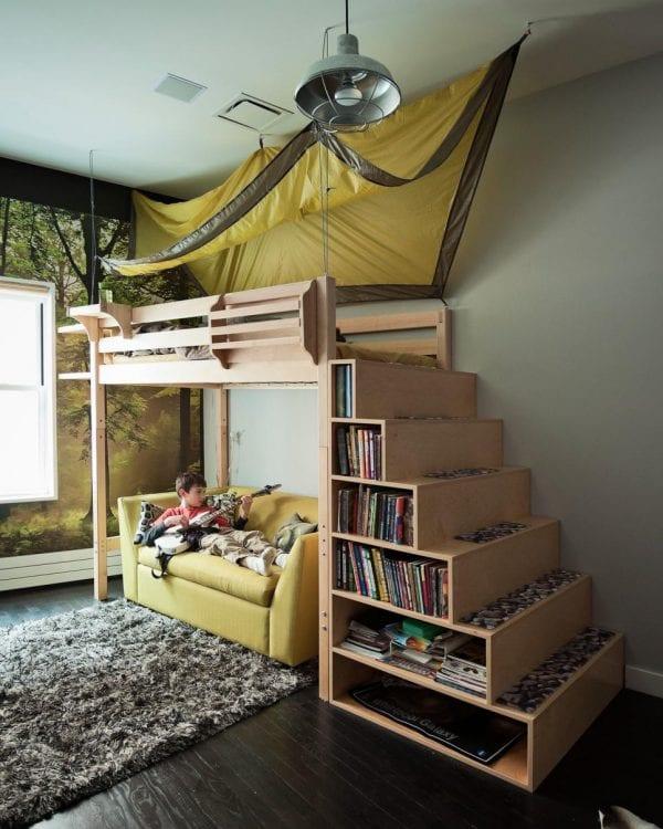 Bunkbed with staircase bookcase shelves, by Tamara H Design via HGTV