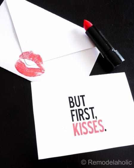 But first, Kisses free printable Valentines Day card