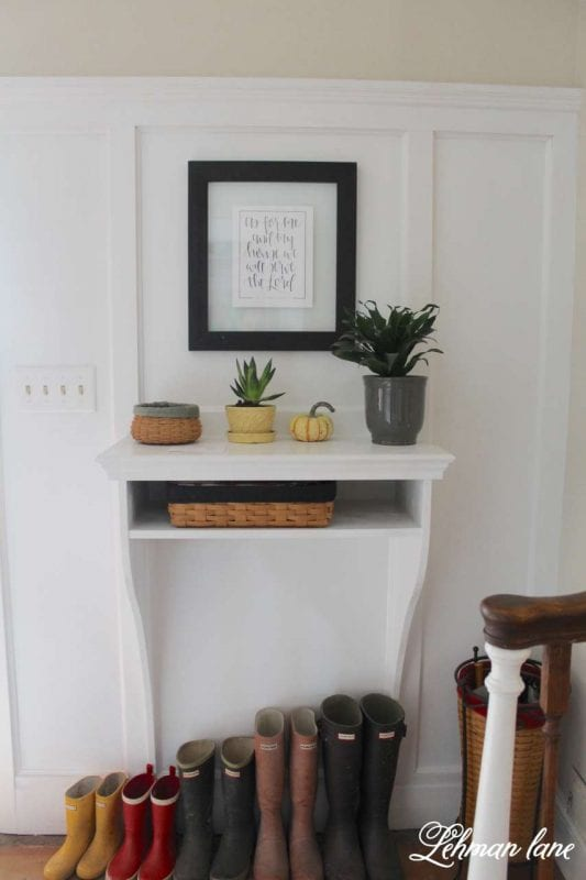 Built-in entryway table, with board and batten wall | 100+ Beautiful Mudrooms and Entryways at Remodelaholic.com