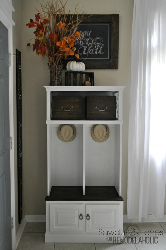 Turn an old microwave stand into an entryway locker for storage | 100+ Beautiful Mudrooms and Entryways at Remodelaholic.com