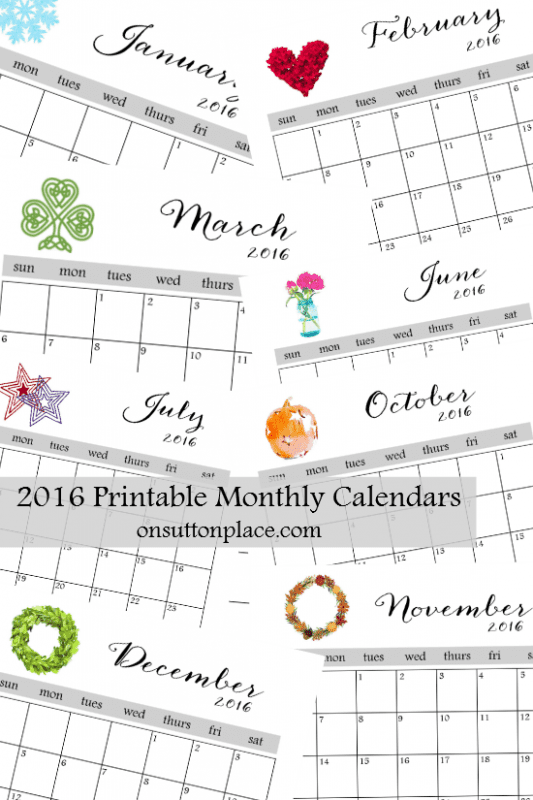 calendar printable for 2016, On Sutton Place
