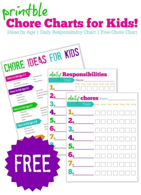 chore and responsibility chart with household job ideas for kids, Passion for Savings