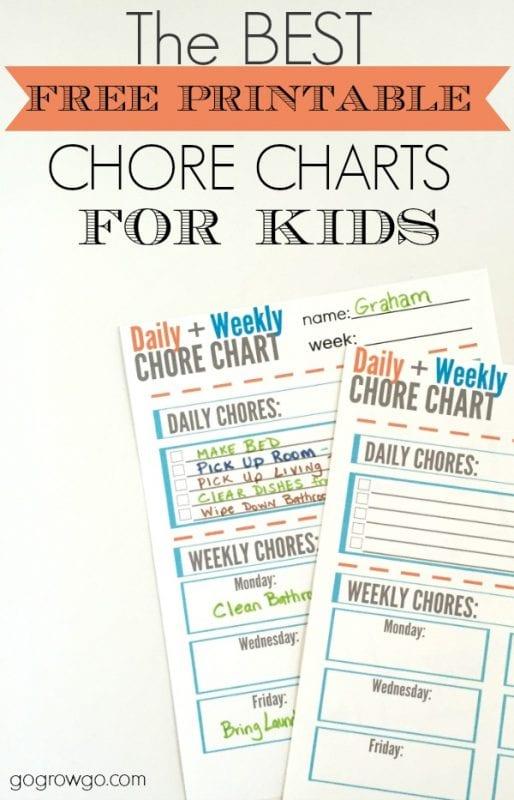 chore chart printable for kids, Go Grow Go