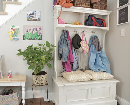 hall tree with storage bench | 100+ Beautiful Mudrooms and Entryways at Remodelaholic.com