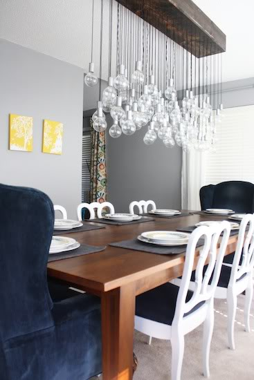 Diy Chandelier Globe Lights A Handmade Dining Room