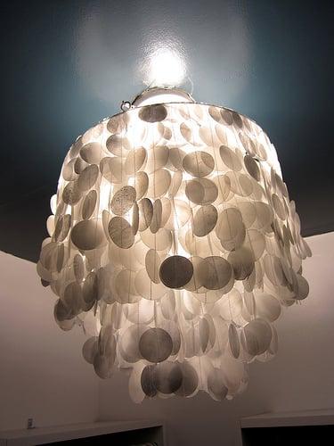 diy faux capiz shell chandelier wax paper