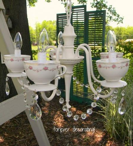 diy teacup chandelier makeover