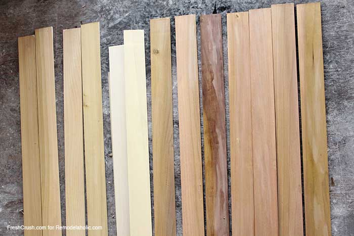 how to stain and paint faux barn boards for furniture and decor, using a homemade stain recipe
