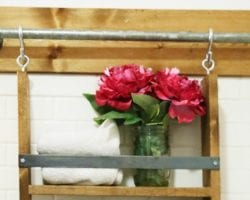 feat multifunctional and simple DIY bathroom organizer -- hang this shelf or anything (like towels on S hooks) from the rail. Brilliant!