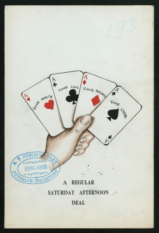 free printable vintage book page playing cards illustration NYPL