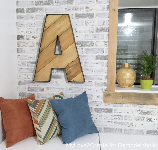 rustic industrial letter on a faux whitewashed brick wall for a teen boys' shared room, MyLove2Create