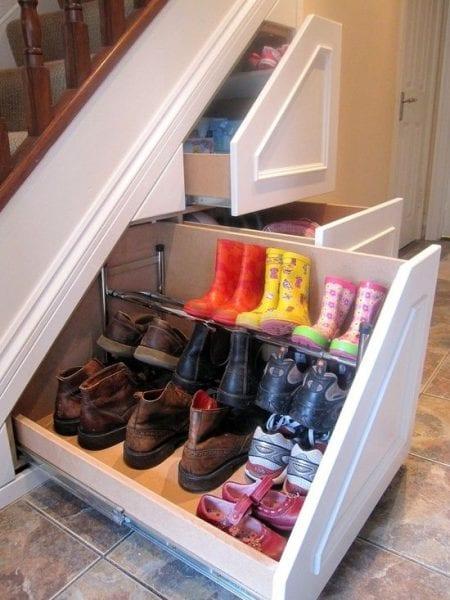 hidden shoe storage @ remodelaholic