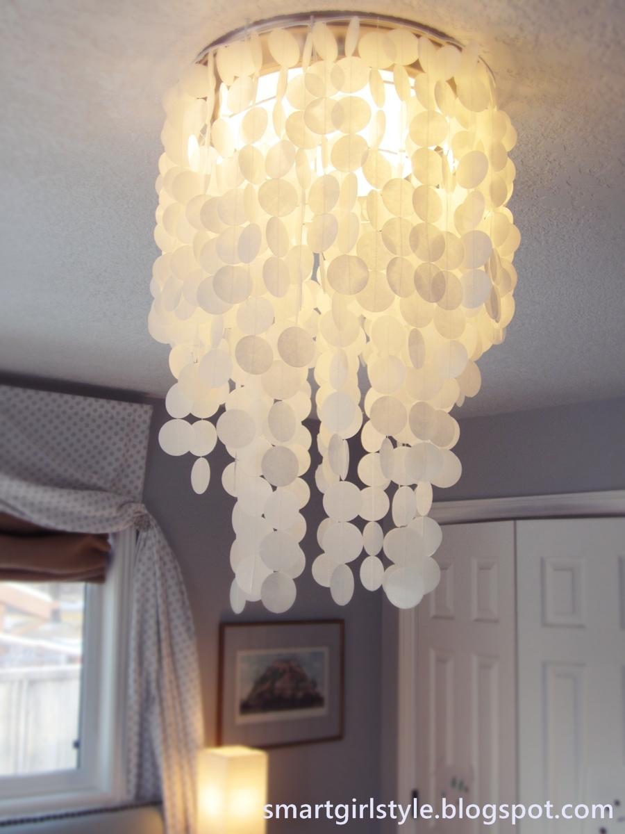 Laminated Rice Paper Faux Capiz Shell Chandelier Diy on Fixture Light Bedroom Idea