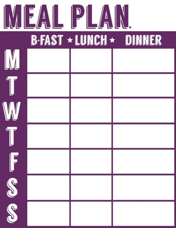 Inventive image inside meal planning sheets
