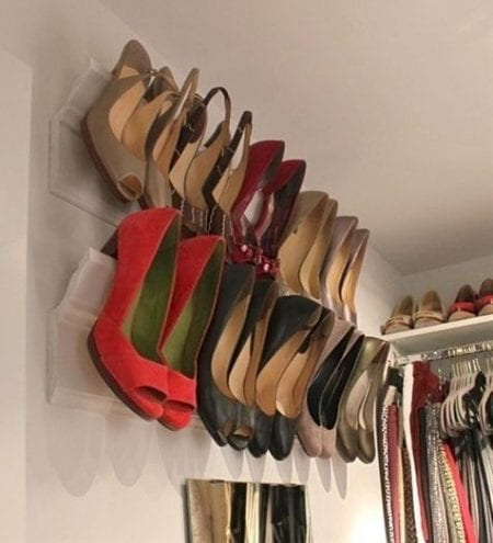 molding on wall with shoes @ remodelaholic