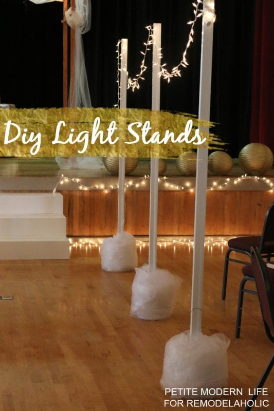 Diy Construction String Lights : Remodelaholic Easy DIY Light Stands for String Lights