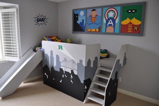 superhero loft bed kids diy with slide