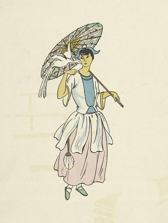 woman with parasol free vintage book page print NYPL