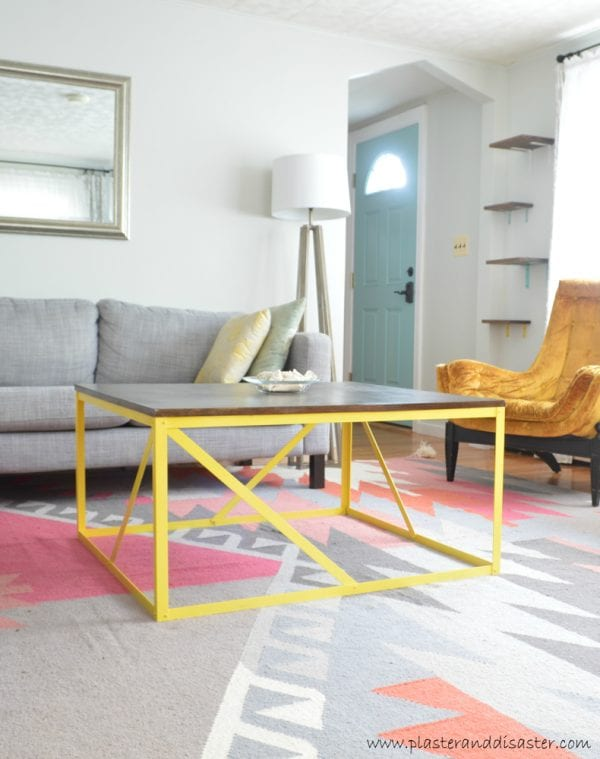 Build this modern colorful wood and metal coffee table -- a real metal base, made from basic hardware store supplies, and NO welding or fancy tools!
