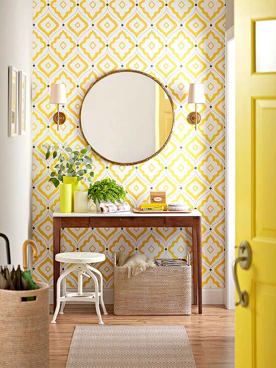Yellow Entryway, love the wallpaper and all the neutral woven elements   100+ Beautiful Mudrooms and Entryways at Remodelaholic.com