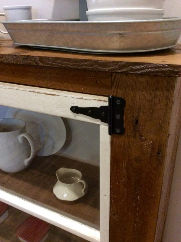 15 Vintage hinges on salvaged windows used in entryway table, The Weekend Country Girl featured on @Remodelaholic