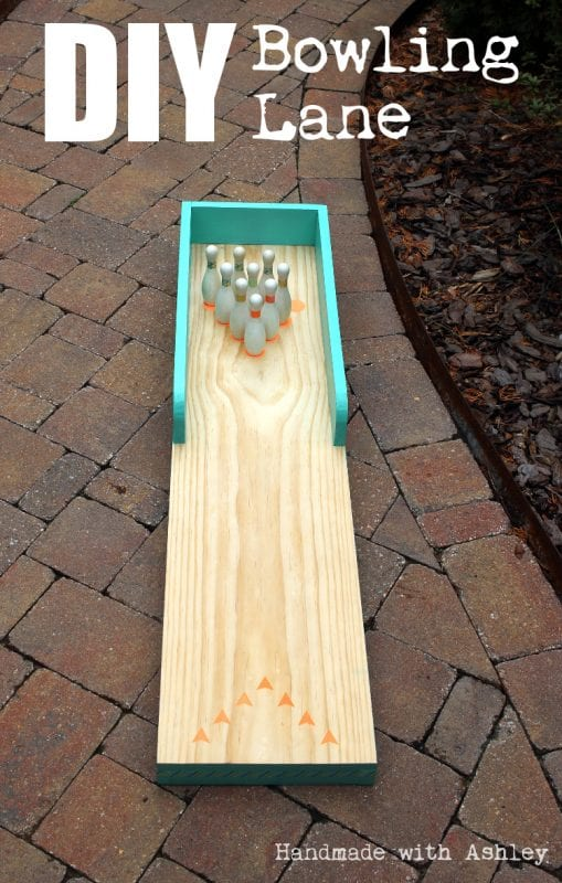 18 Homemade bowling lane for kids, indoor-outdoor use, Handmade by Ashley featured on @Remodelaholic