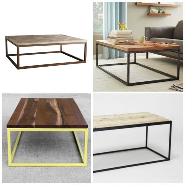 Remodelaholic how to build a modern industrial wood and for Modern wooden coffee tables