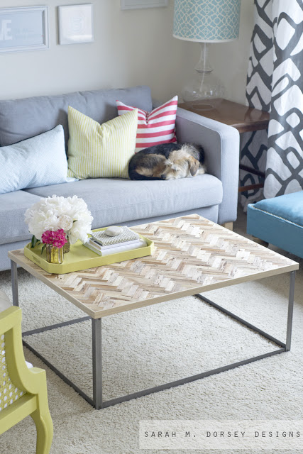 Sarah M Dorsey Designs, herringbone wood and metal coffee table
