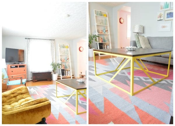 Hand built modern metal coffee table, make one for yourself!, Plaster and Disaster featured on Remodelaholic.com