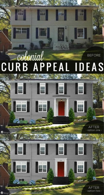 Add curb appeal to a Colonial style house. These 3 changes will make the biggest impact!