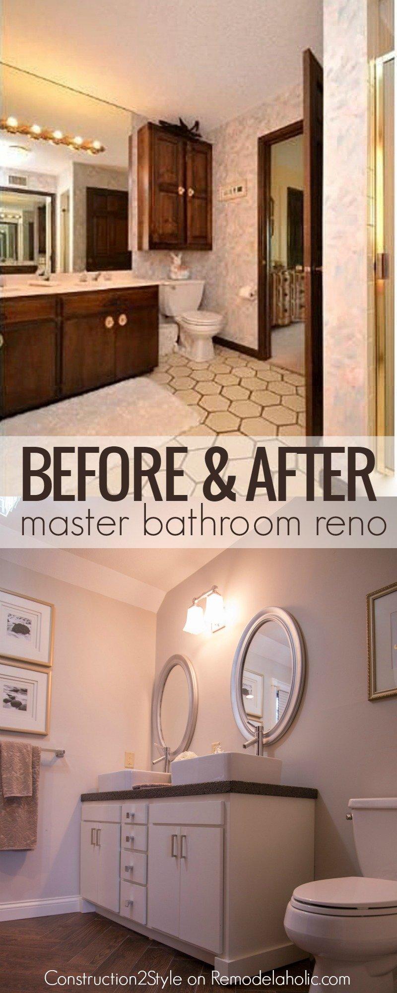 Remodelaholic DIY Concrete Countertops In A Beautiful Master -  tile bathroom countertop bathroom