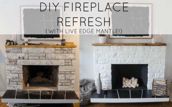 Remodelaholic simple diy concrete hearth over tile diy stone fireplace refresh with live edge mantle solutioingenieria Choice Image