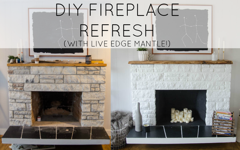 DIY STONE FIREPLACE REFRESH WITH LIVE EDGE MANTLE Remodelaholic  Stone Fireplace Update with Live Edge Wood Mantel