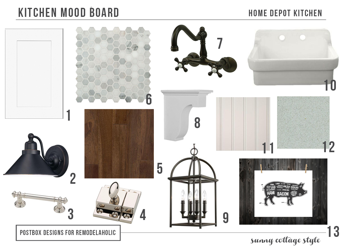 remodelaholic cottage style kitchen entirely from home depot cottage kitchen from home depot mood board postbox designs