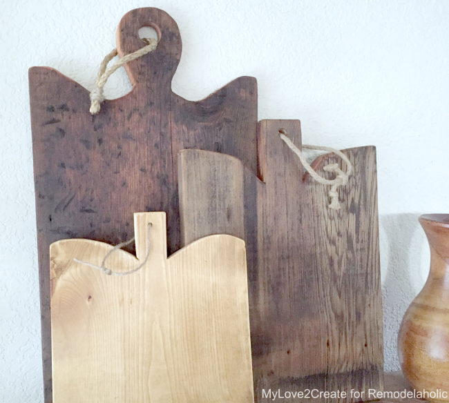 DIY Antique cutting boards, three front, MyLove2Create for Remodelaholic