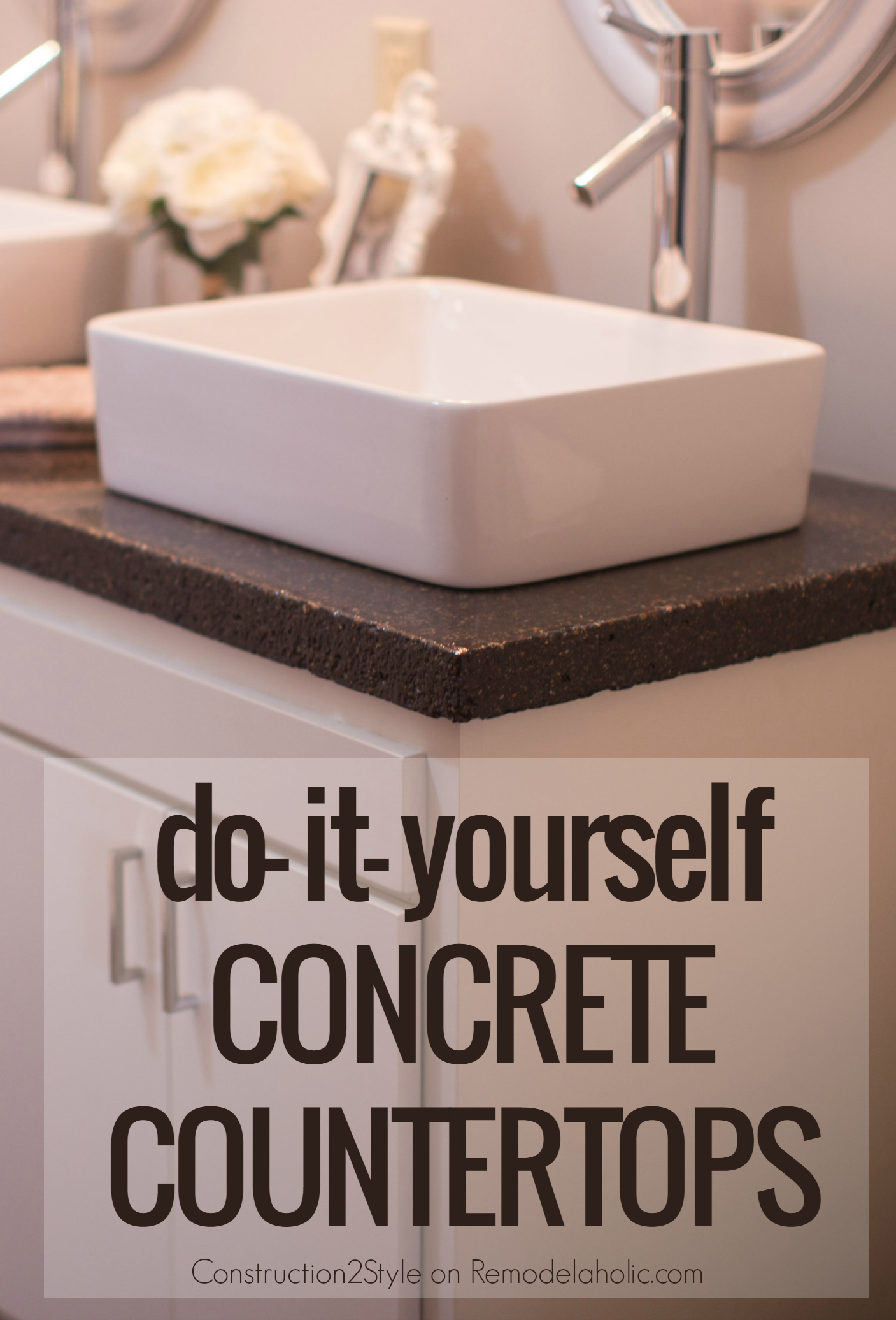 DIY Concrete Countertops Tutorial    They Tinted Them Charcoal For A Darker  Look @Remodelaholic