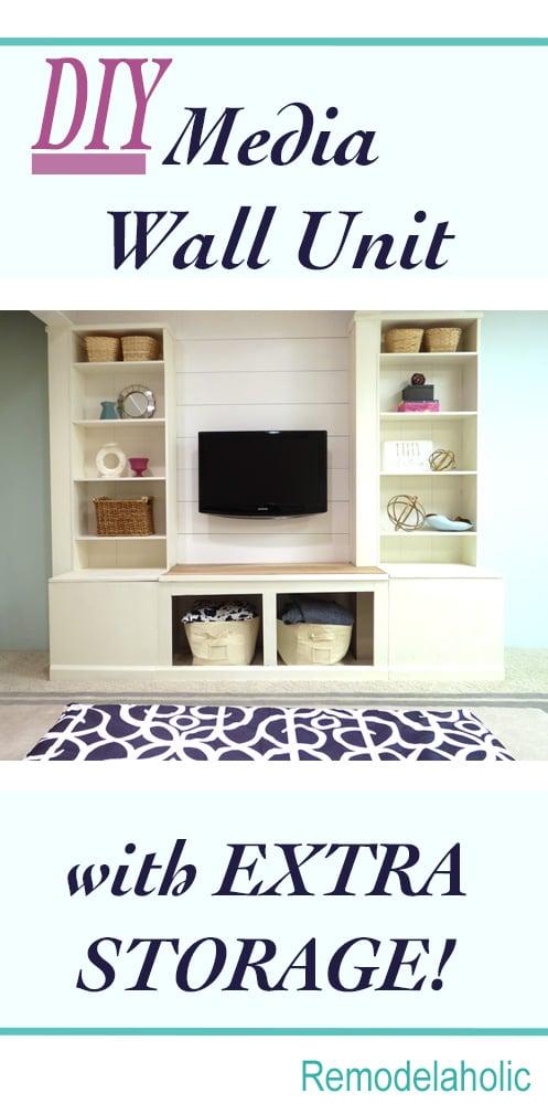 DIY Media Wall Unit with Extra Storage