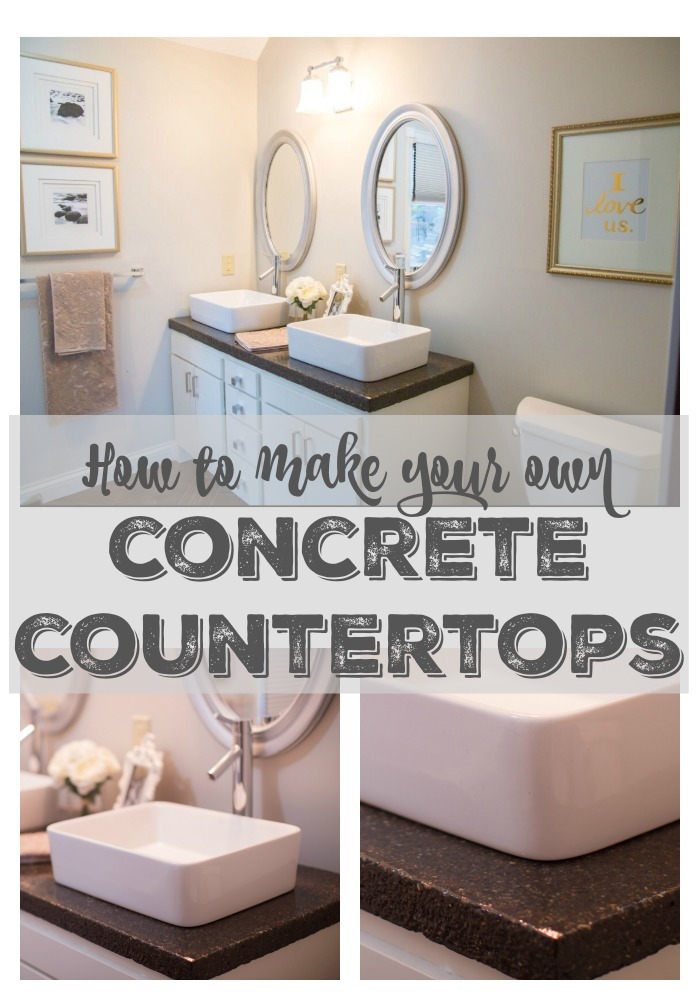 Remodelaholic Diy Concrete Countertops In A Beautiful Master Bathroom Renovation