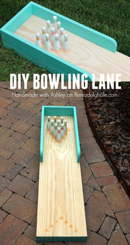 DIY indoor-outdoor bowling lane for kids play @Remodelaholic