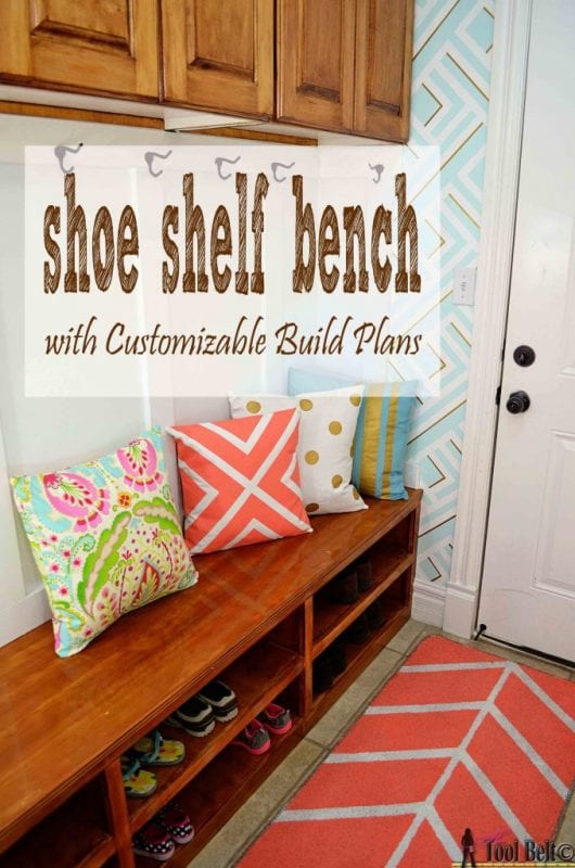 This DIY shoe shelf bench is perfect for an entryway!   100+ Beautiful Mudrooms and Entryways at Remodelaholic.com