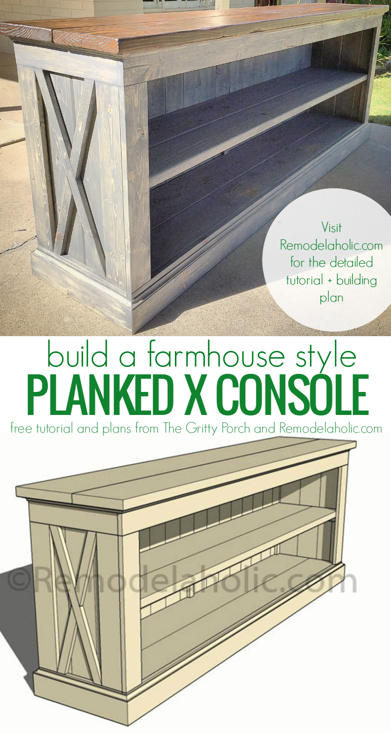 Remodelaholic build a farmhouse style tv console sideboard for Farmhouse style building plans
