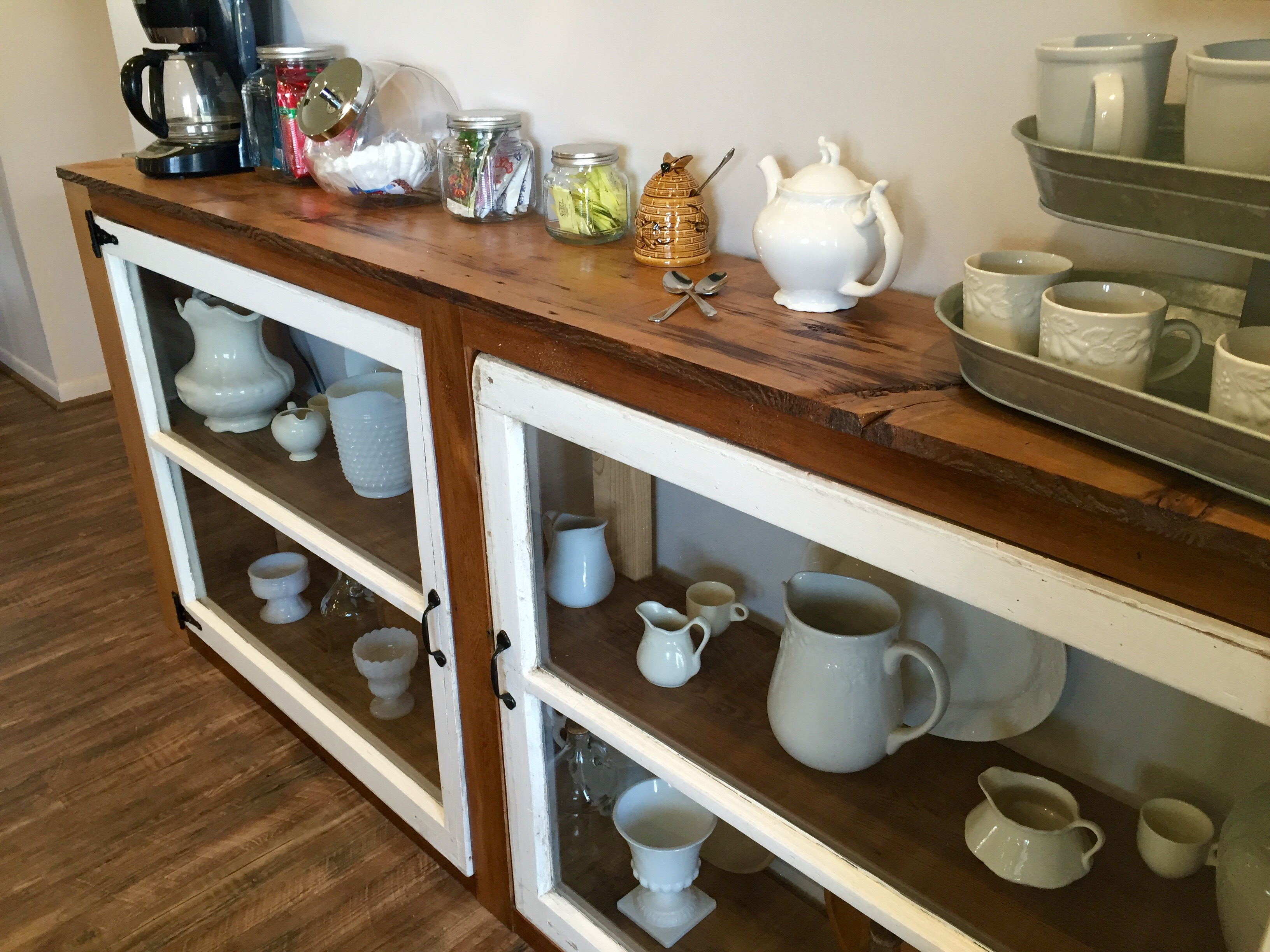 DIY Tutorial To Build A Buffet Or Console Table From Old Windows And  Reclaimed Wood The ...