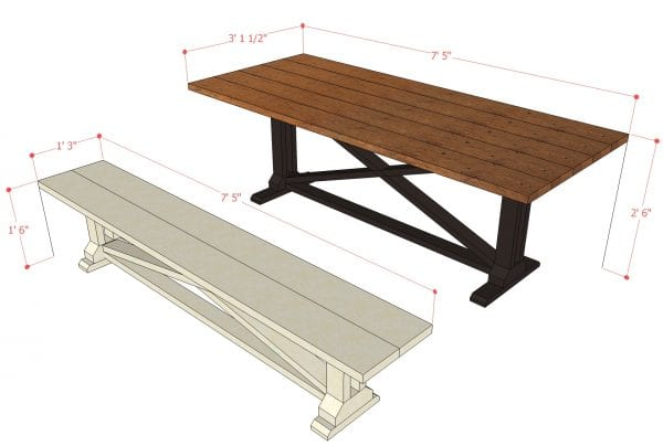 Remodelaholic Rustic X Dining Table And Bench Building Plan