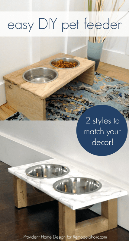 Easy DIY pet feeder, in either rustic or modern style, to fit your decor. Great beginner project. @Remodelaholic