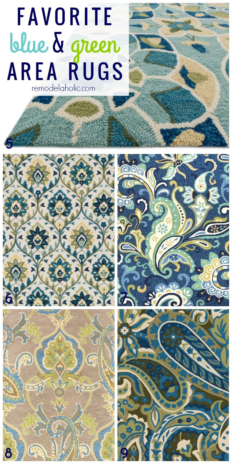 Top Picks For Green And Blue Area Rugs, Patterned, Paisley, Striped, Floral