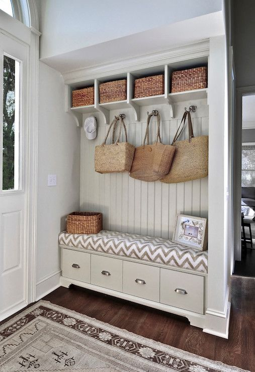 Amazing griege mudroom built-in cubbies | 100+ Beautiful Mudrooms and Entryways at Remodelaholic.com