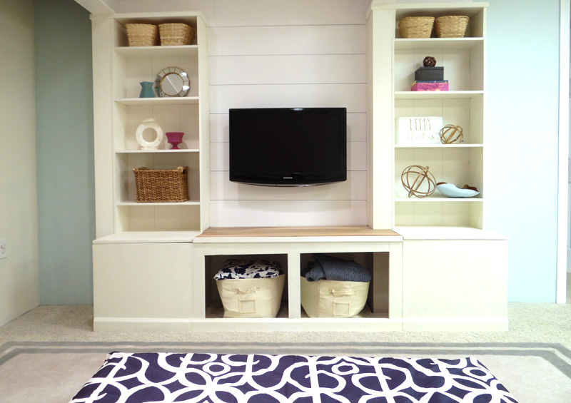 How to Build a Media Storage IKEA Wall Unit featured on Remodelaholic.com